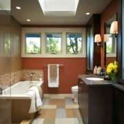 Bathroom with skylight sun tunnel
